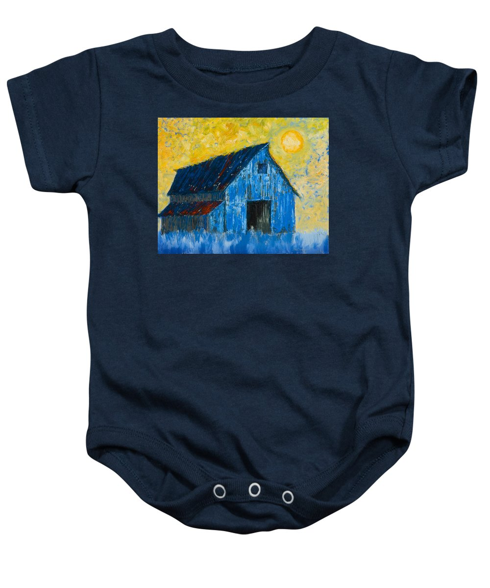 Barn Baby Onesie featuring the painting Blue Barn Number One by Jerry McElroy
