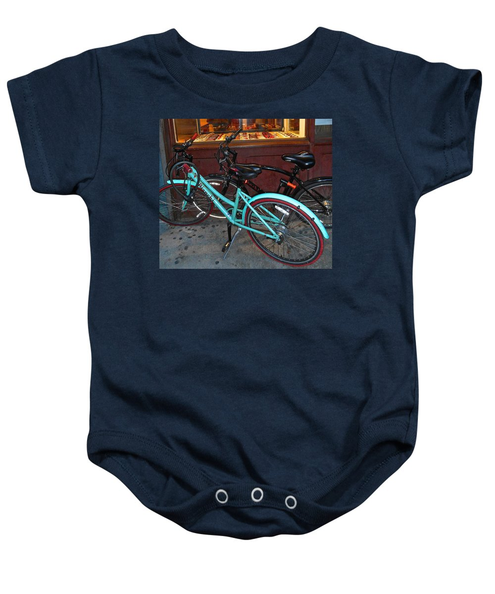 New York City Bicycle Baby Onesie featuring the photograph Blue Bianchi Bike by Joan Reese