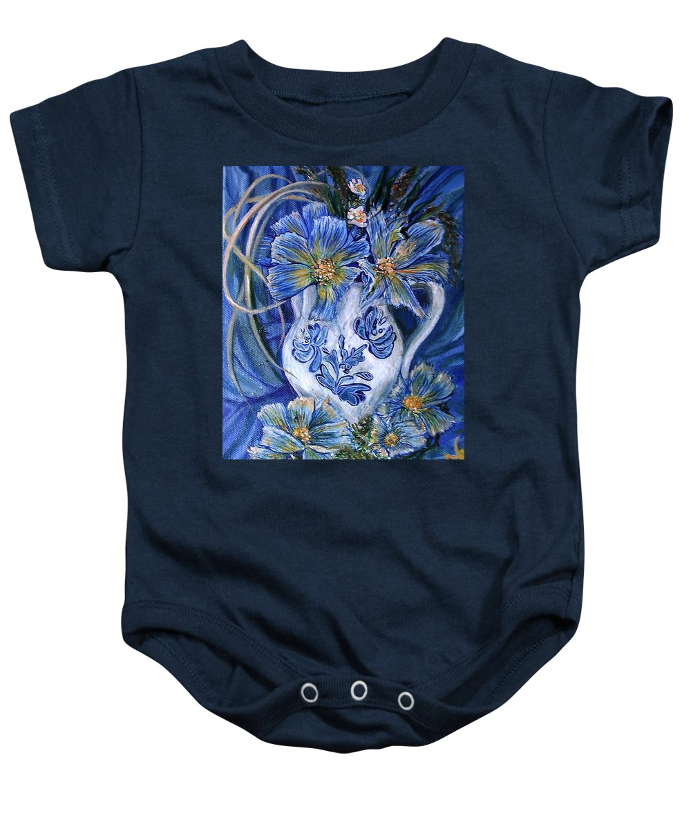Pansy Baby Onesie featuring the painting Blue Flowers by Safir Rifas