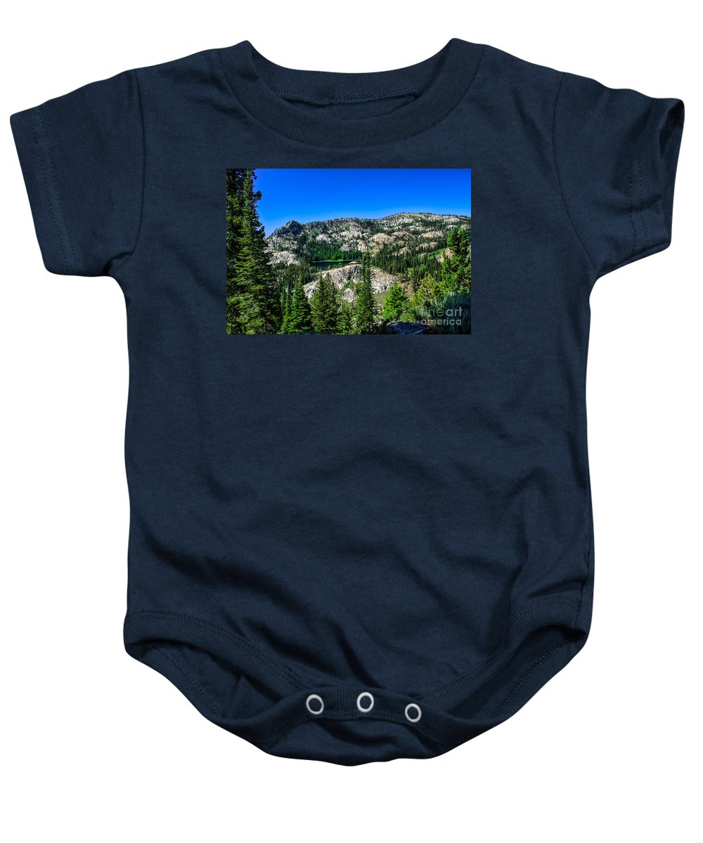 Hight Mountain Lake Baby Onesie featuring the photograph Blue Lake by Robert Bales
