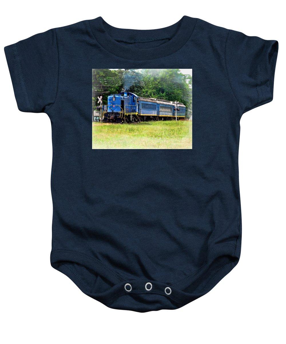 Bluebird Train Baby Onesie featuring the photograph Bluebird Train by Jack Schultz