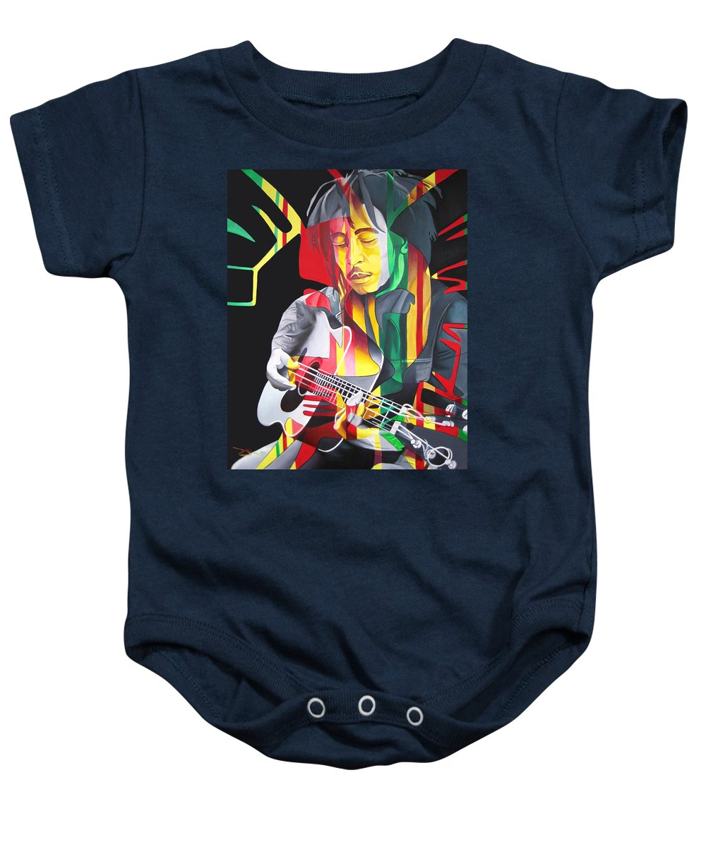 Bob Marley Baby Onesie featuring the painting Bob Marley And Rasta Lion by Joshua Morton