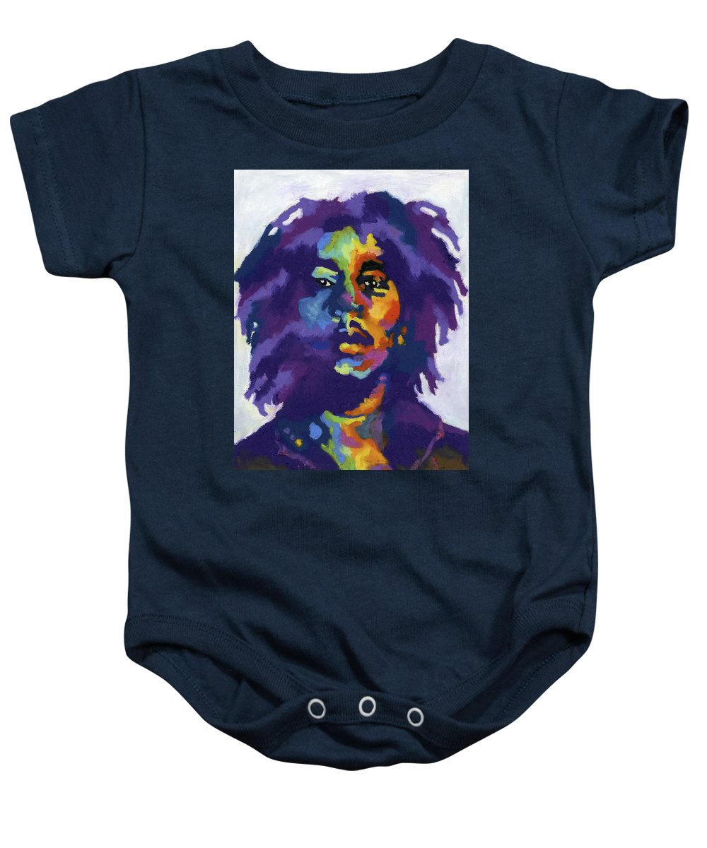 Bob Marley Baby Onesie featuring the painting Bob Marley by Stephen Anderson