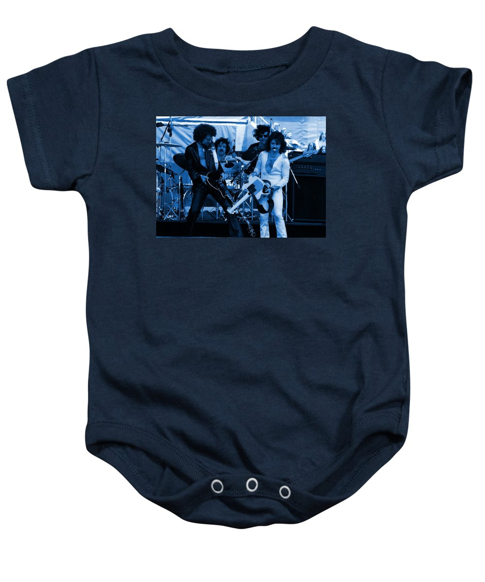 Blue Oyster Cult Baby Onesie featuring the photograph Boc #43 Enhanced In Blue by Ben Upham