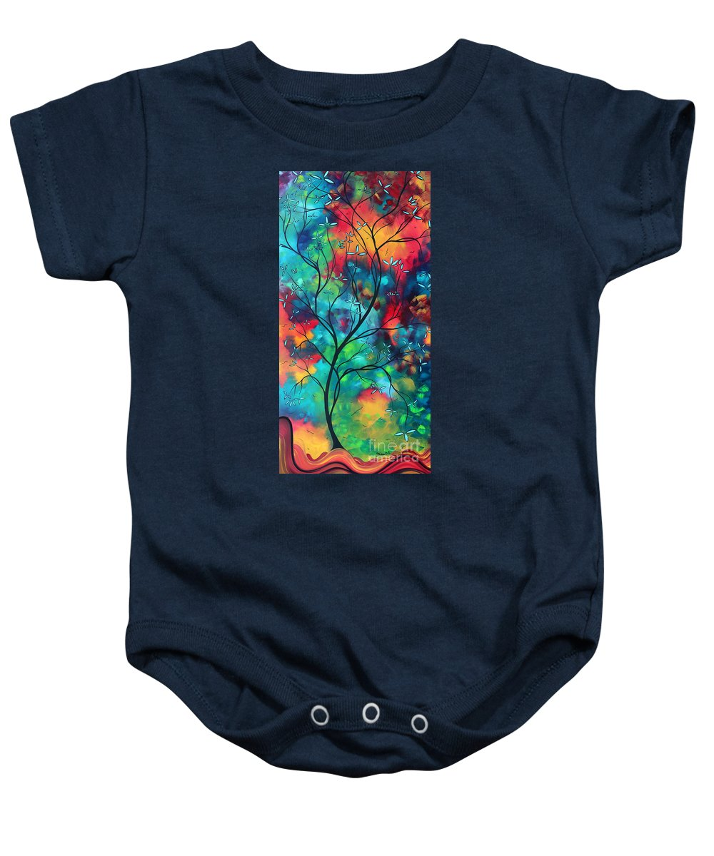 Abstract Baby Onesie featuring the painting Bold Rich Colorful Landscape Painting Original Art Colored Inspiration By Madart by Megan Duncanson