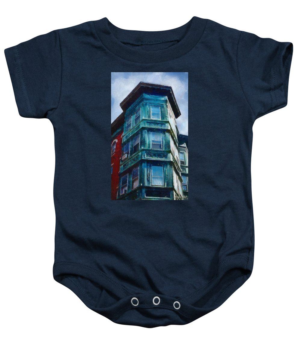 America Baby Onesie featuring the painting Boston's North End by Jeffrey Kolker