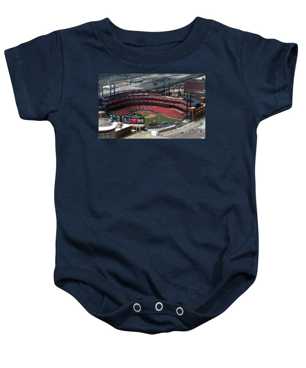 Panorama Baby Onesie featuring the photograph Busch Memorial Stadium by Thomas Woolworth