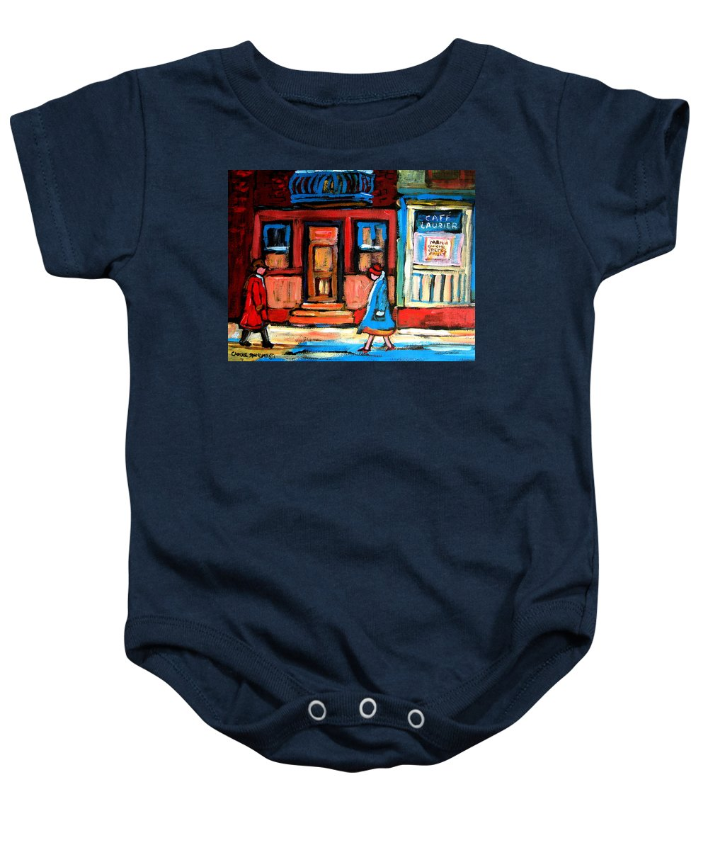 Cafe Laurier Montreal Baby Onesie featuring the painting Cafe Laurier Montreal by Carole Spandau