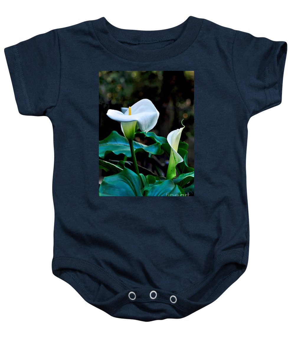 Photography Baby Onesie featuring the photograph Calla Lily - Zantedeschia Aethiopica by Kaye Menner