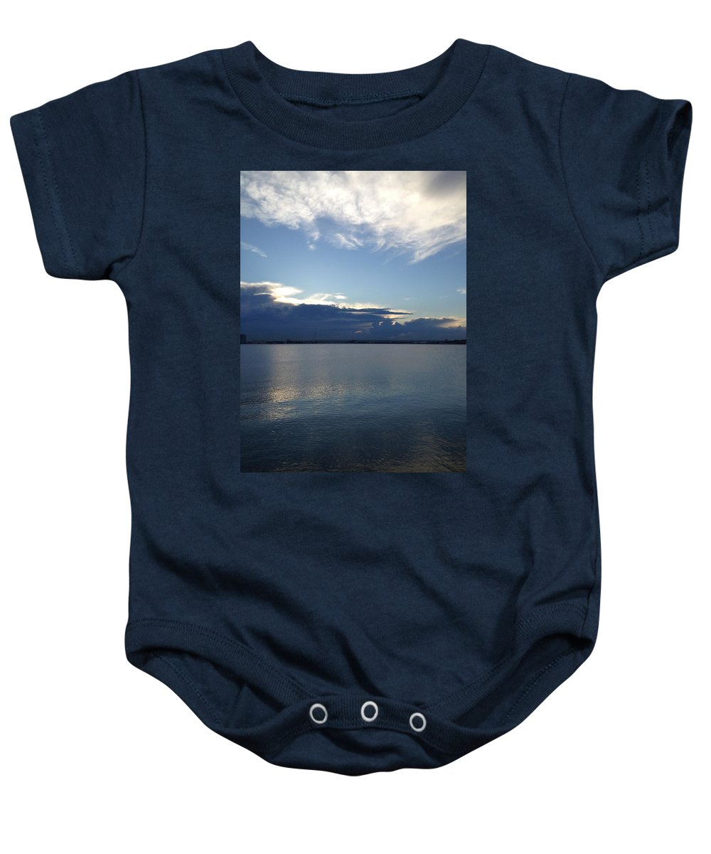 Bayonne Baby Onesie featuring the photograph Calm Blue Bay by Christine Crowley