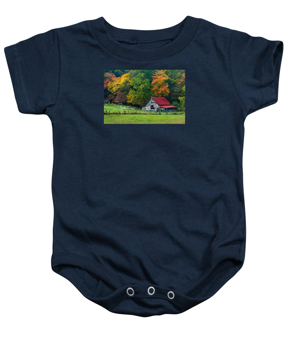 Appalachia Baby Onesie featuring the photograph Candy Mountain by Debra and Dave Vanderlaan