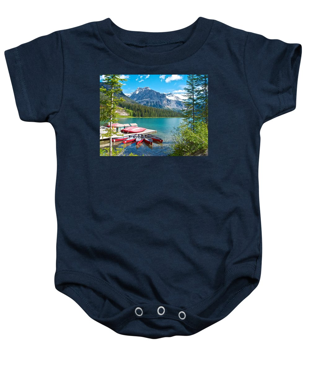 Canoe Livery On Emerald Lake In Yoho Np Baby Onesie featuring the photograph Canoe Livery On Emerald Lake In Yoho Np-bc by Ruth Hager
