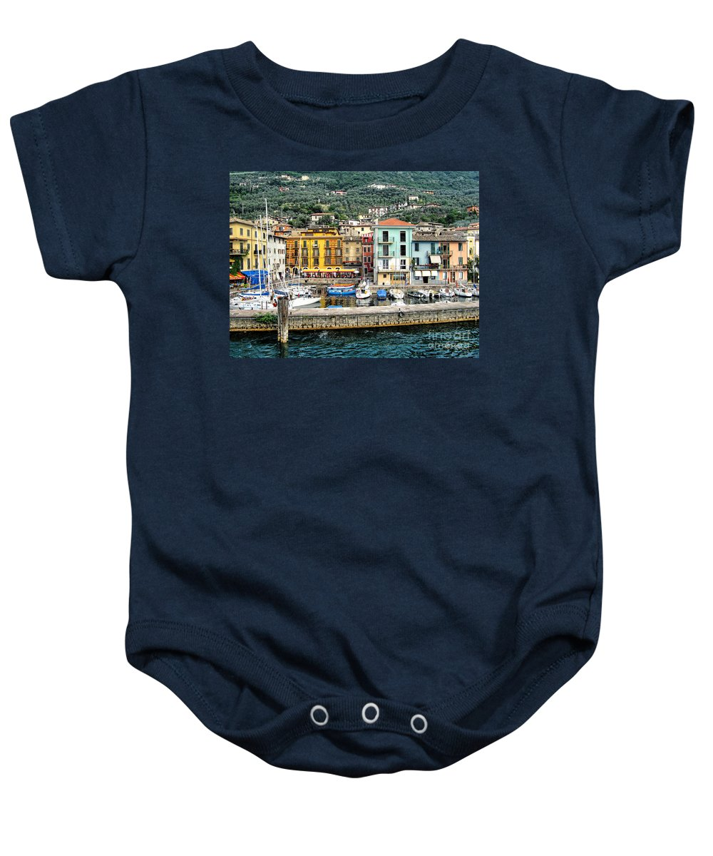 Castelletto Di Brenzone Baby Onesie featuring the photograph Castelleto Harbor.italy by Jennie Breeze