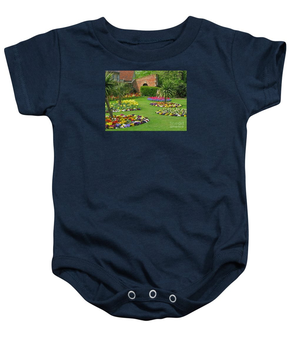 Garden Baby Onesie featuring the photograph Castle Park Gardens by Ann Horn