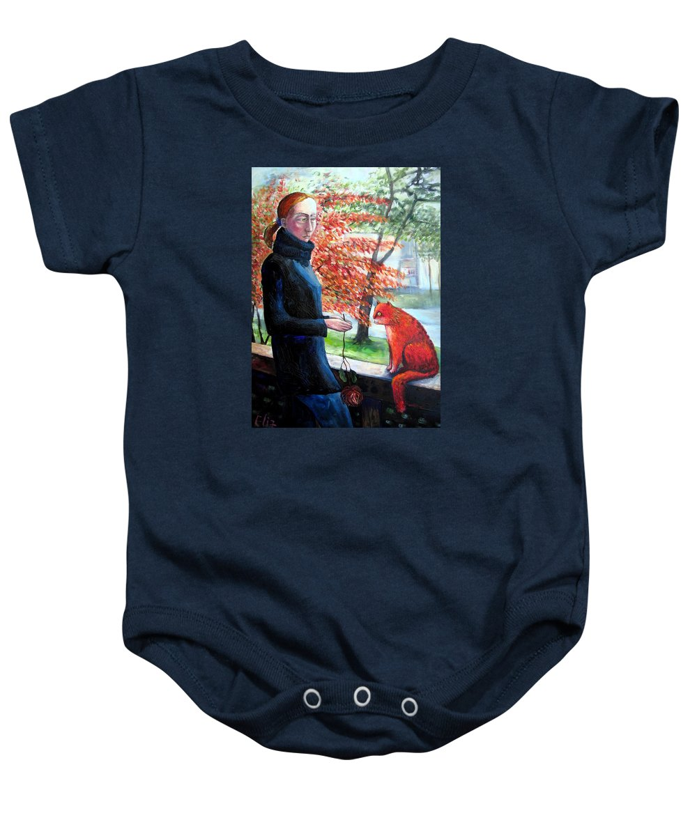 Fling Baby Onesie featuring the painting Casual Fling by Elisheva Nesis