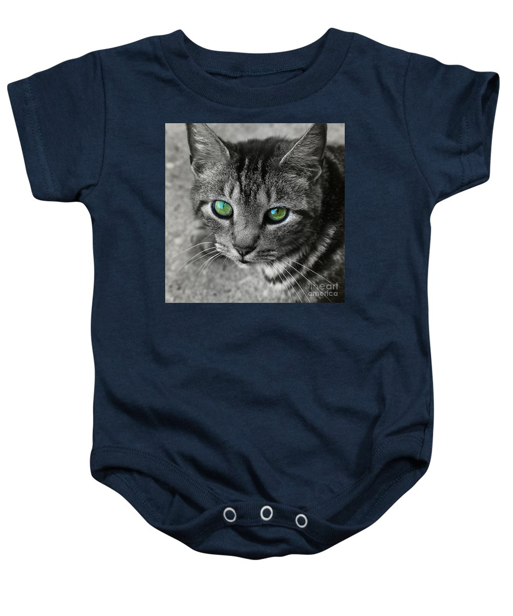 Cat Baby Onesie featuring the photograph Cat's Eyes by Judi Bagwell