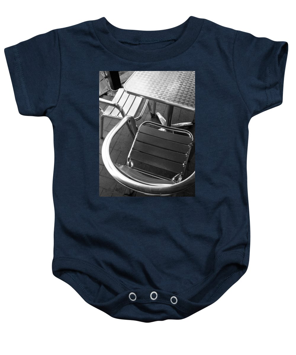 Abstract Baby Onesie featuring the photograph Chair And Table by Joe Kozlowski