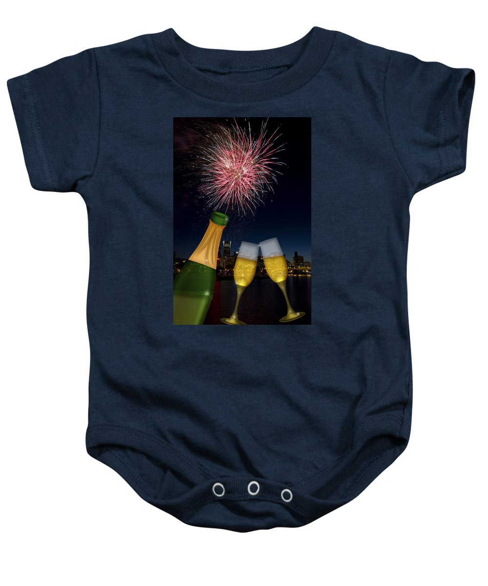 Champagne Baby Onesie featuring the photograph Champagne Toast With Portland Oregon Skyline by Jit Lim