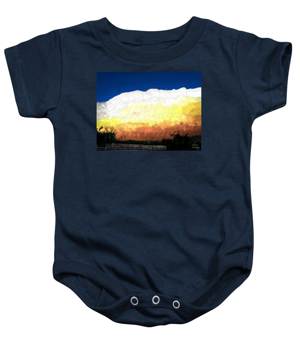 Clouds Baby Onesie featuring the painting Chaparra Supercell At Sunset by Bruce Nutting