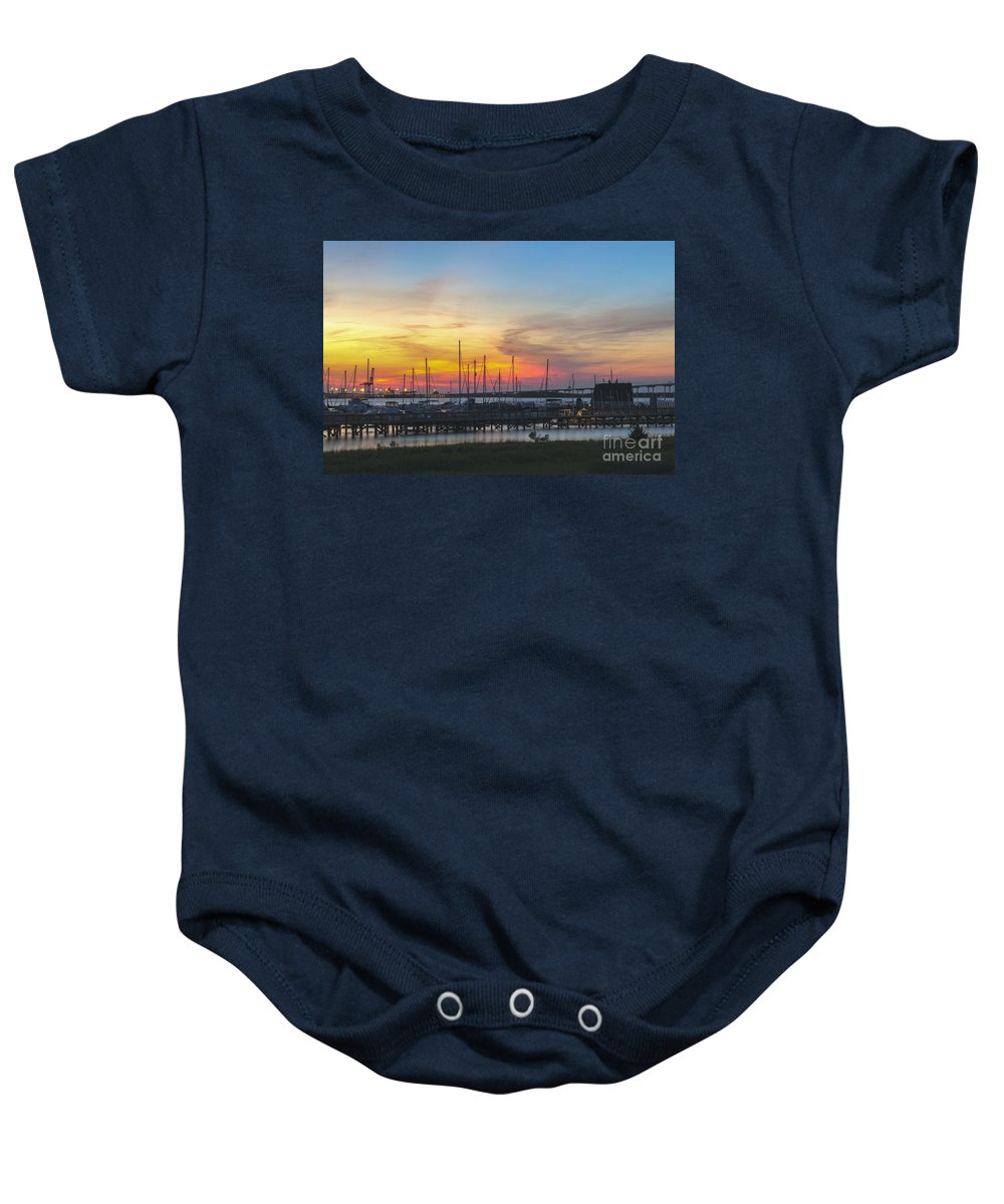 Sunset Baby Onesie featuring the photograph Charleston Harbor Sunset by Dale Powell