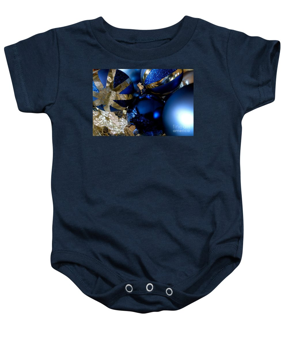 Christmas Baby Onesie featuring the photograph Christmas Blue by Jacqueline Athmann