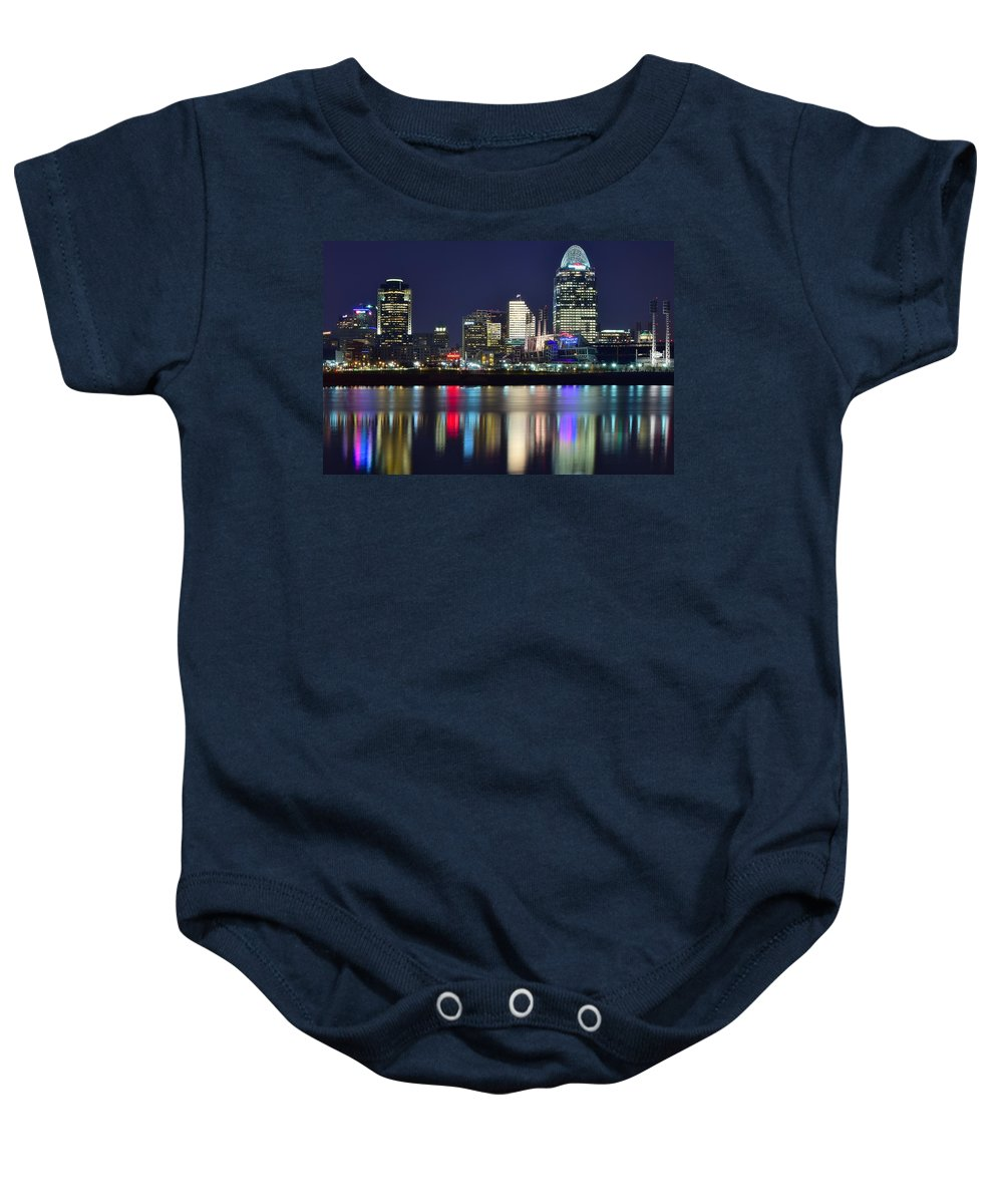 Cincinnati Baby Onesie featuring the photograph Cinicinnati At Dusk by Frozen in Time Fine Art Photography