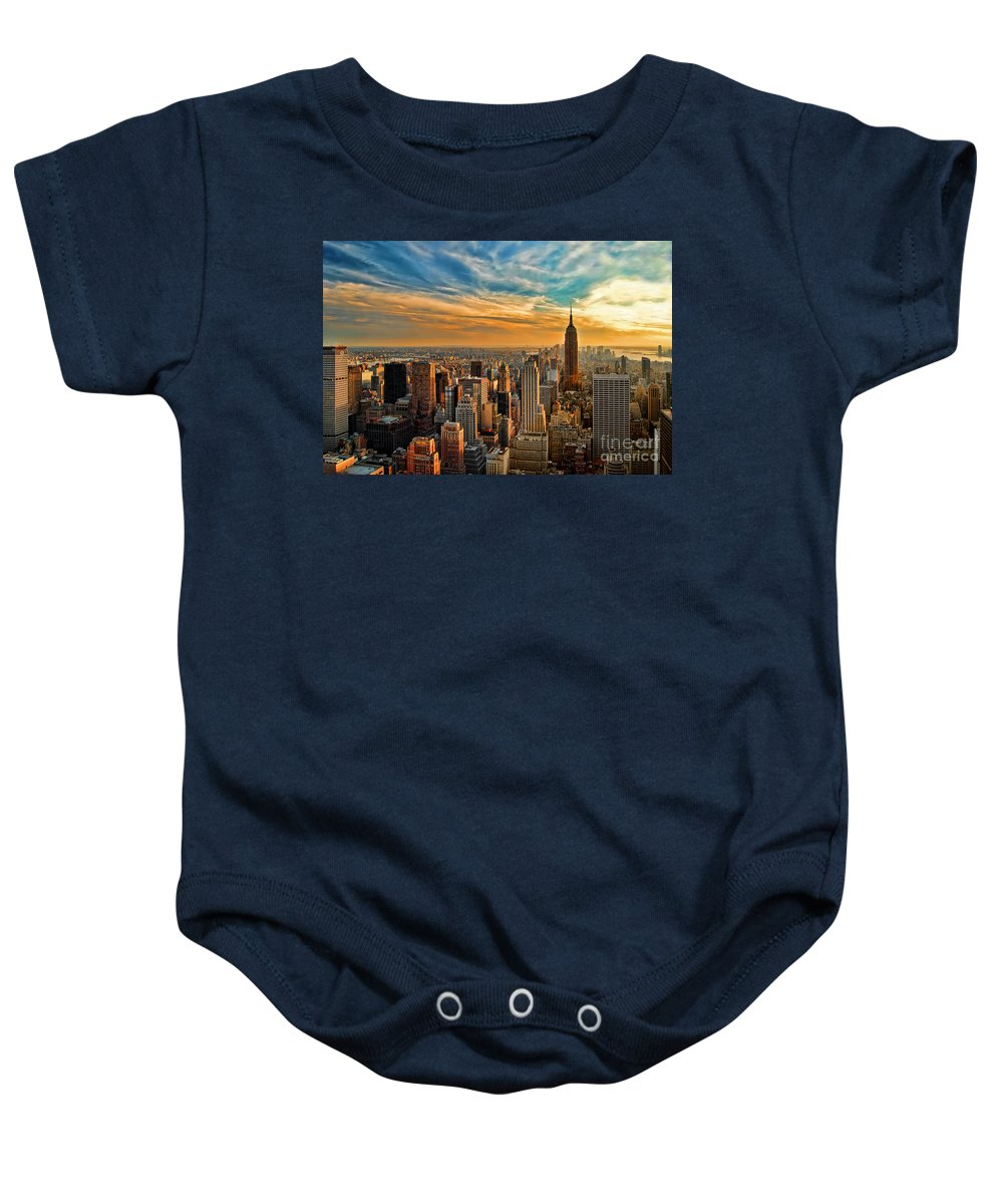 New York City Baby Onesie featuring the photograph City Sunset New York City Usa by Sabine Jacobs
