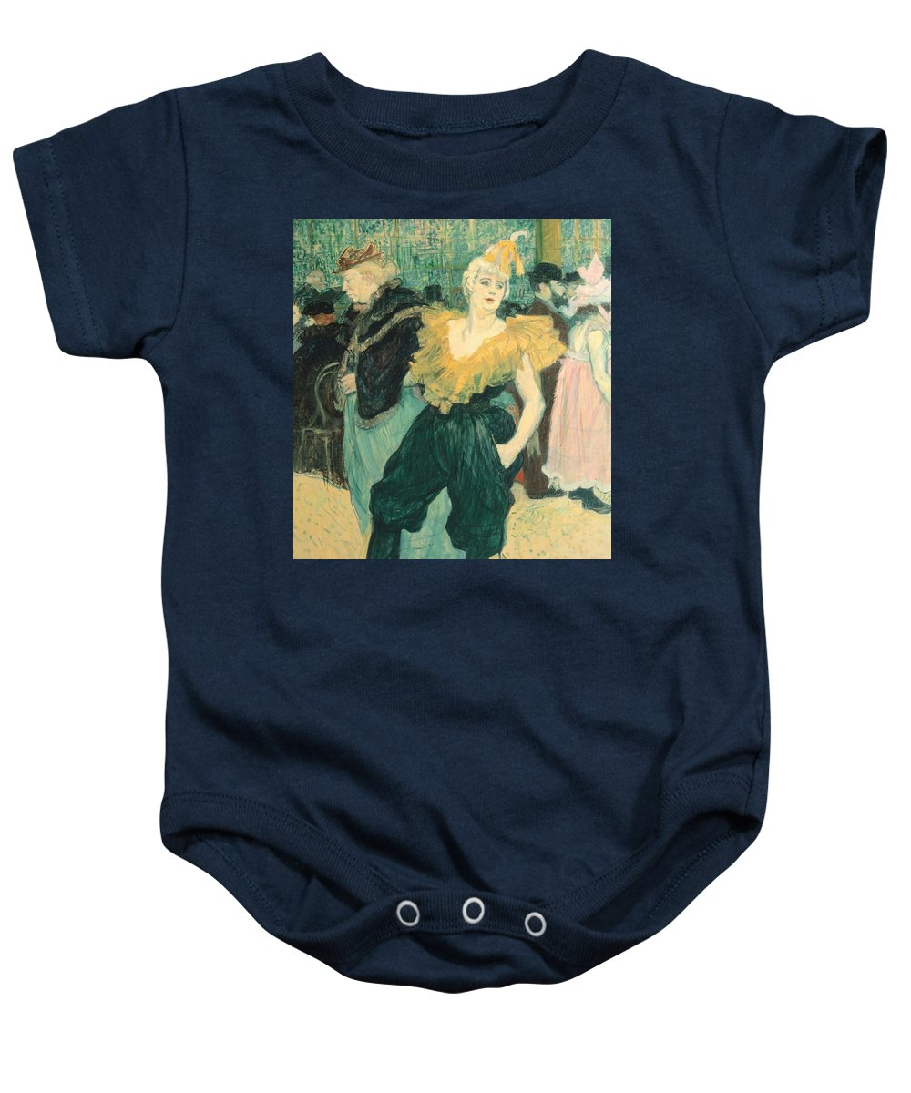 Art; Painting; Theatre; Variety; Europe; France; Cha U Kao; Toulouse-lautrec Henri De; Post-impressionism Baby Onesie featuring the painting Clowness Cha-u-kao At Moulin Rouge by Henri de Toulouse Lautrec
