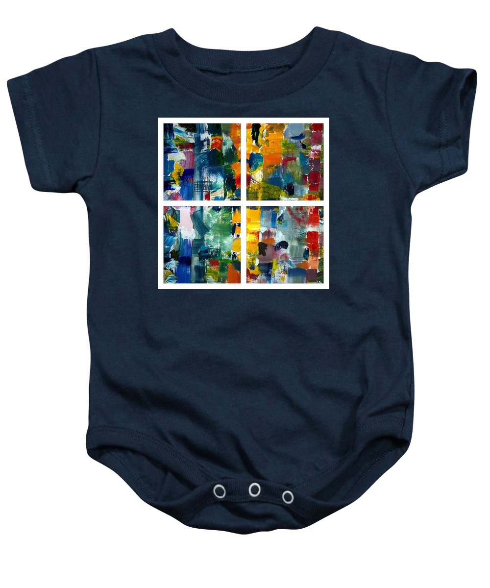 Abstract Collage Baby Onesie featuring the painting Color Relationships Collage by Michelle Calkins