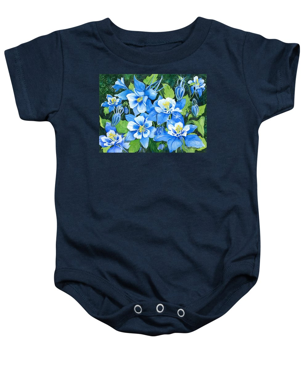 Flowers Baby Onesie featuring the painting Colorado Columbines by Barbara Jewell