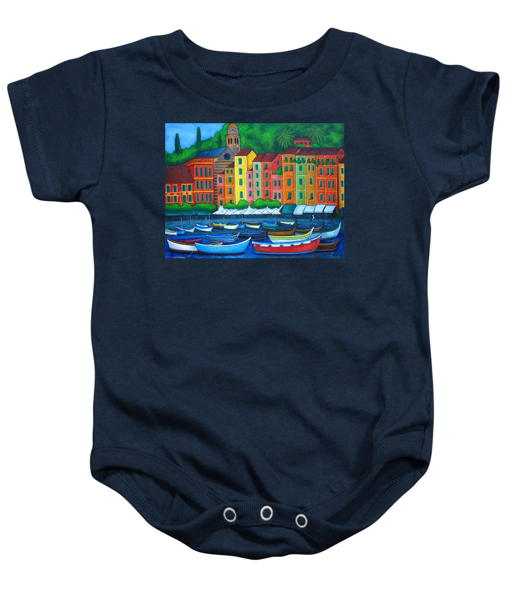 Portofino Baby Onesie featuring the painting Colours Of Portofino by Lisa Lorenz
