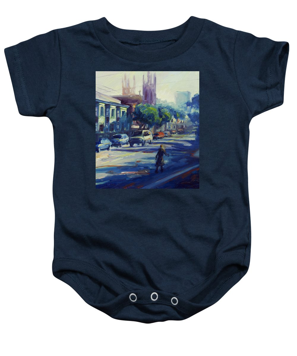 Cityscape Baby Onesie featuring the painting Columbus Street by Rick Nederlof