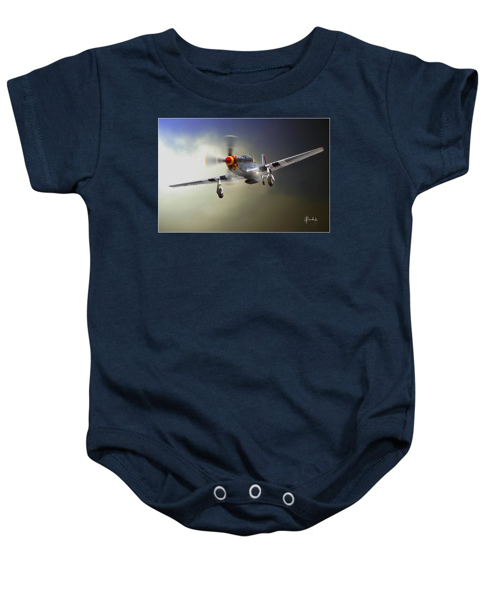 Mustang Baby Onesie featuring the photograph Comin' Home by Craig Purdie