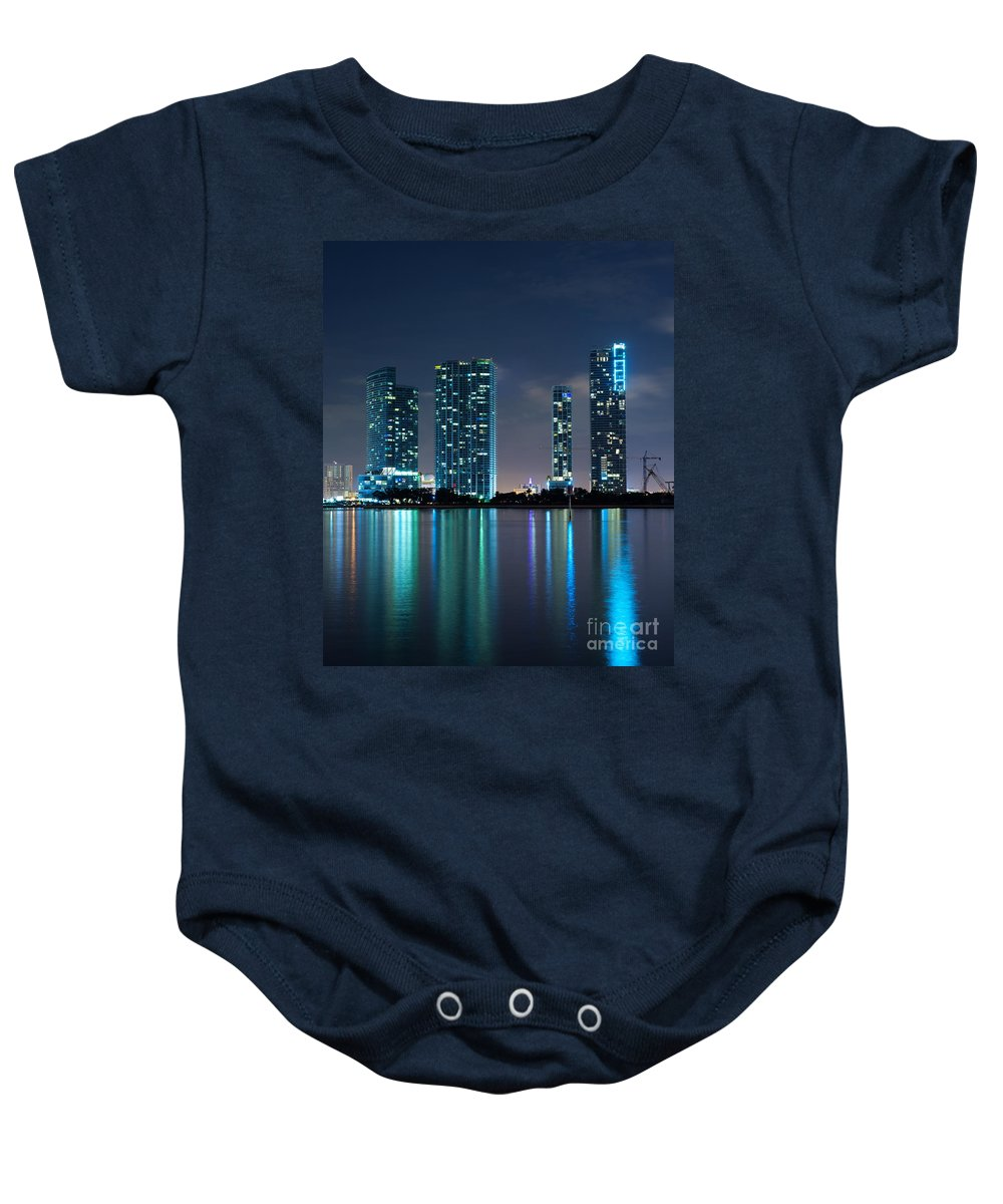900 Biscayne Bay Baby Onesie featuring the photograph Condominium Buildings In Miami by Carsten Reisinger