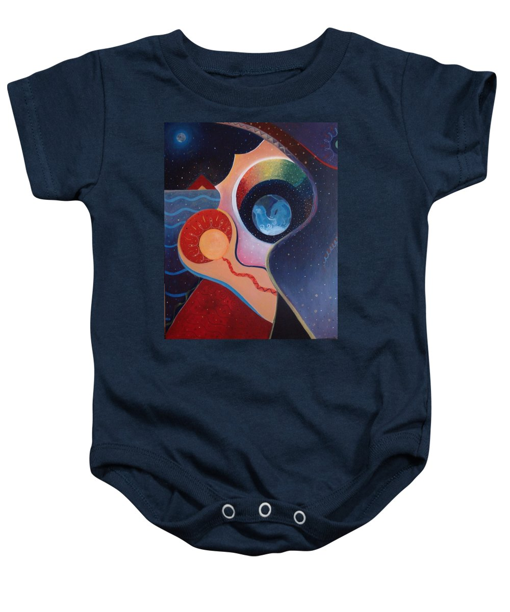 Wanting Baby Onesie featuring the painting Cosmic Carnival IIl Aka Desire by Helena Tiainen