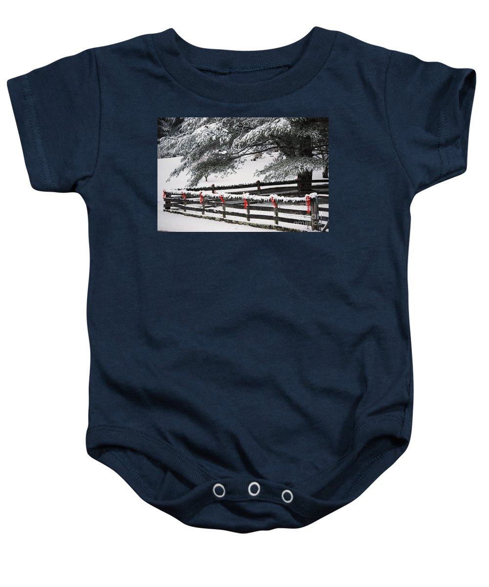 Virginia Baby Onesie featuring the photograph Country Christmas by Eric Liller