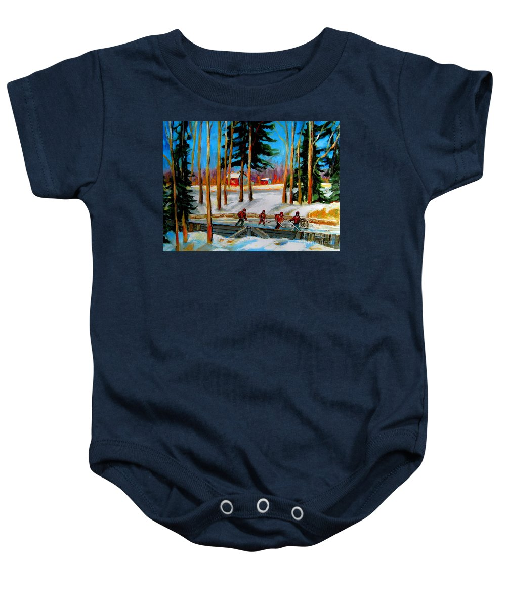 Country Hockey Rink Baby Onesie featuring the painting Country Hockey Rink by Carole Spandau
