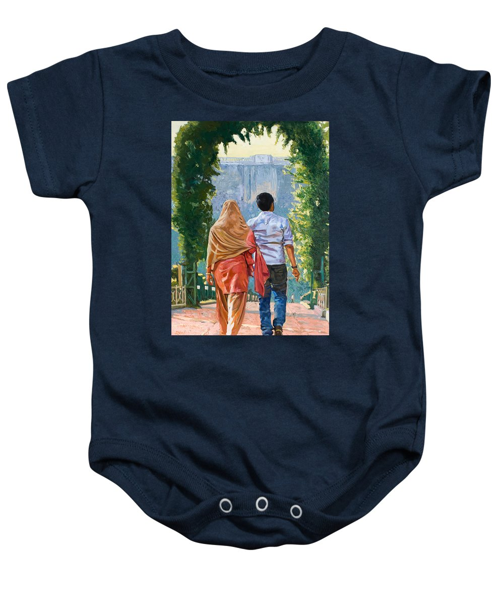 Top Artist Baby Onesie featuring the painting Couple Under The Leafy Arch by Dominique Amendola