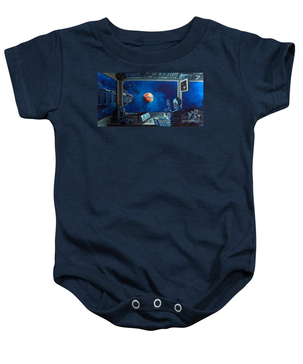 Fantasy Baby Onesie featuring the painting Crying Robot by Murphy Elliott
