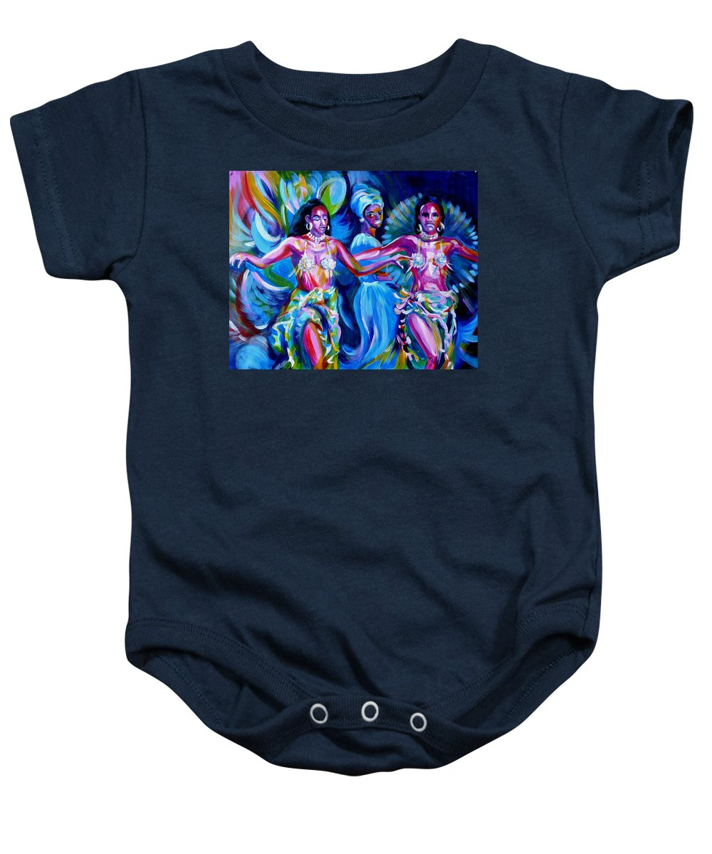 Music Baby Onesie featuring the painting Dancing Panama by Anna Duyunova
