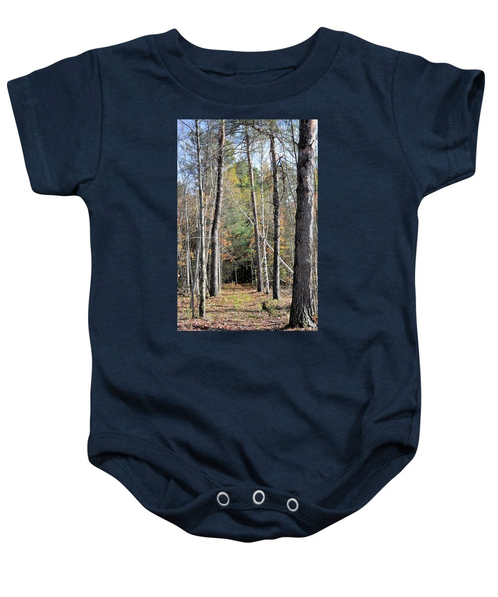 Forest Baby Onesie featuring the photograph Dark And Cool by Valerie Kirkwood