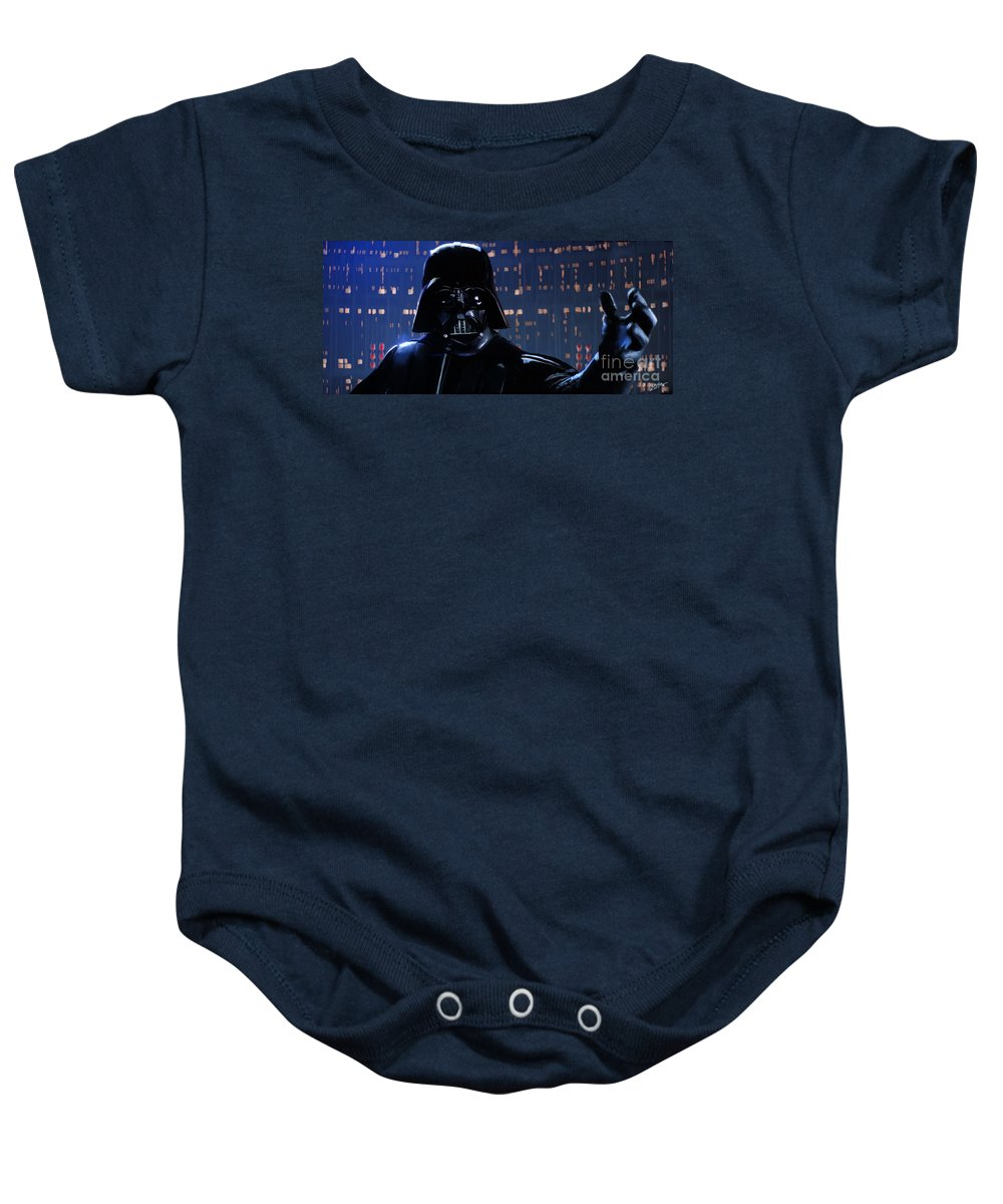 Empire Baby Onesie featuring the painting Darth Vader by Paul Tagliamonte