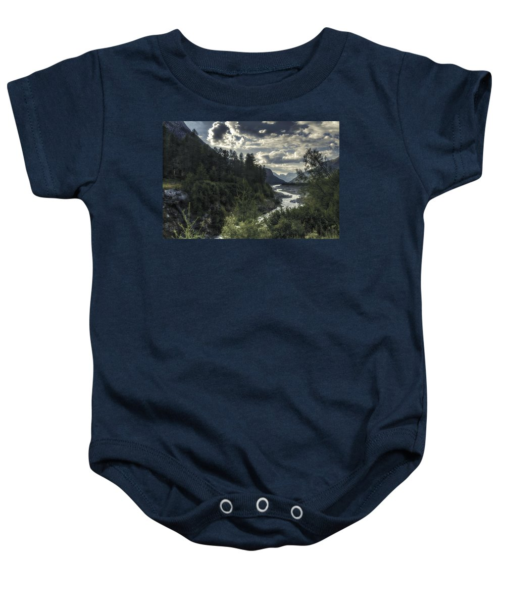 Color Efex Pro Baby Onesie featuring the photograph Desaturated Mountainscape by Roberto Pagani
