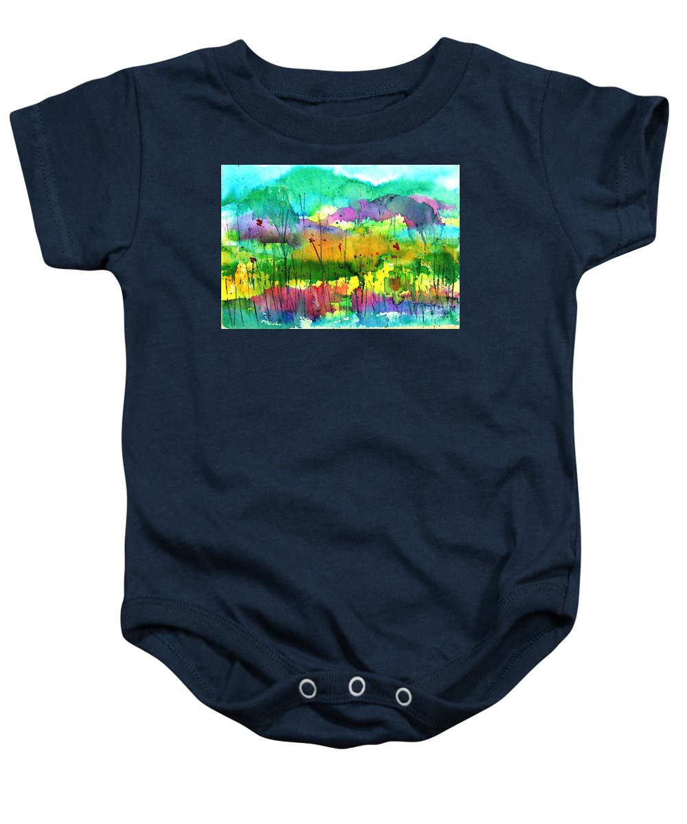 Springtime Baby Onesie featuring the painting Desert In The Spring by Hazel Holland