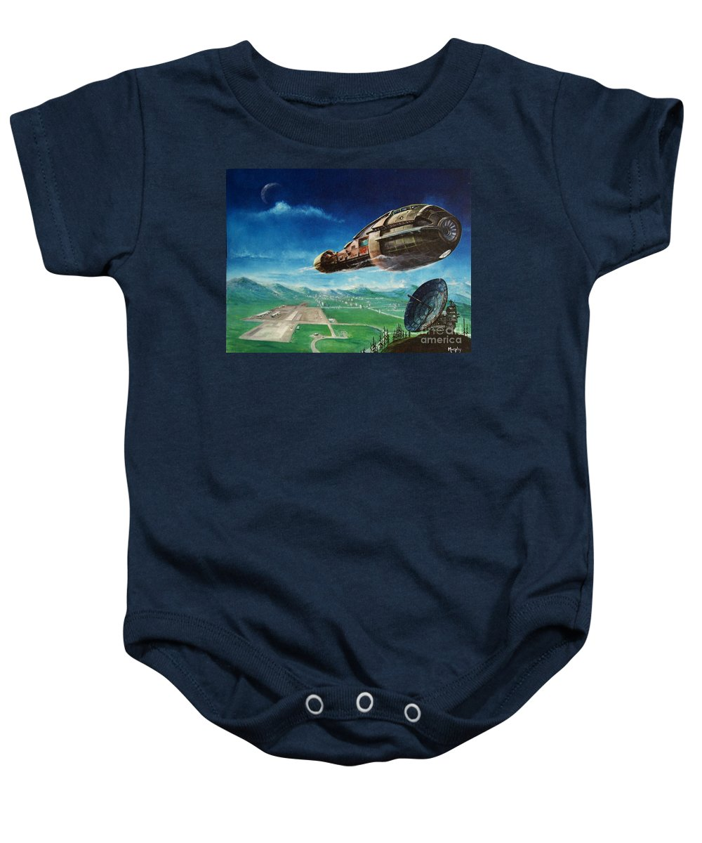 Landscape Baby Onesie featuring the painting Did You Call by Murphy Elliott