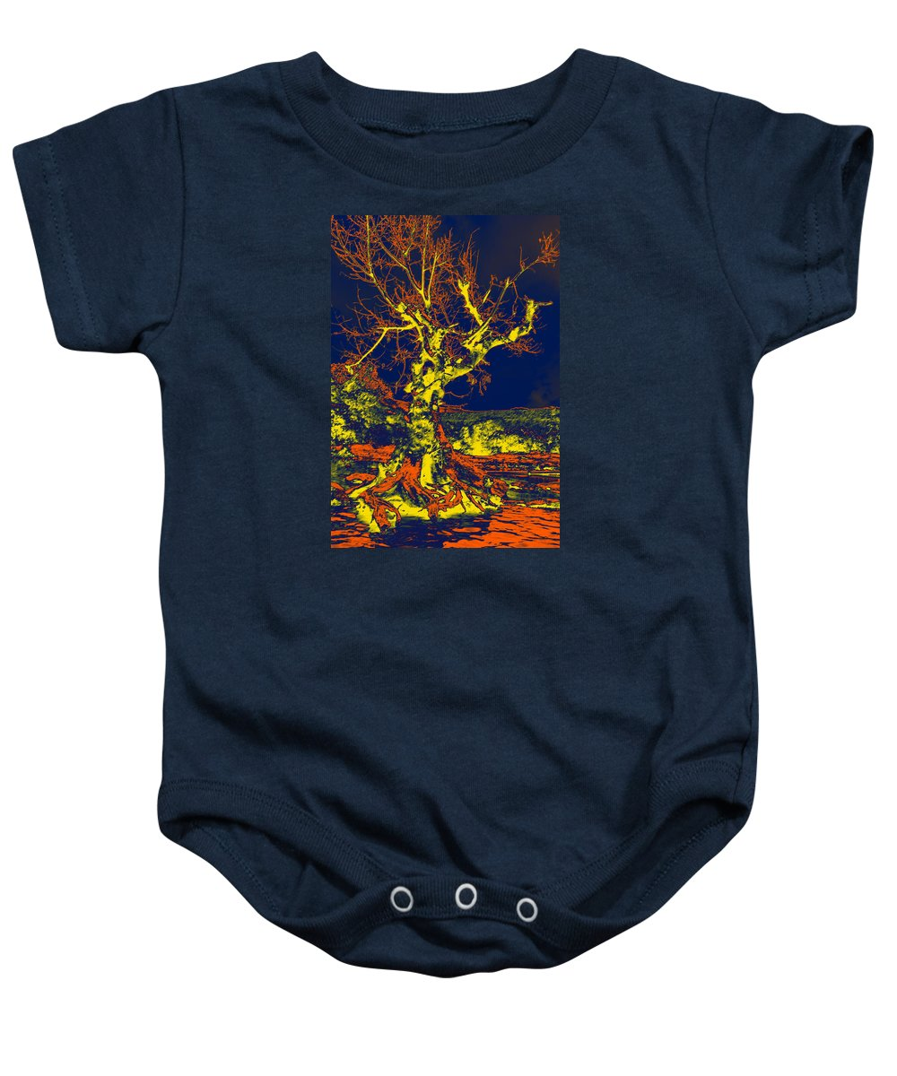 Distinct Baby Onesie featuring the digital art Dried Up Tree by Bliss Of Art