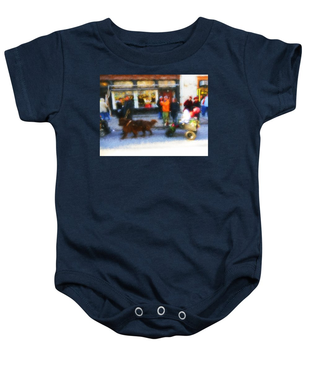 Troy Baby Onesie featuring the digital art Dog Sleigh Ride by Tina Baxter