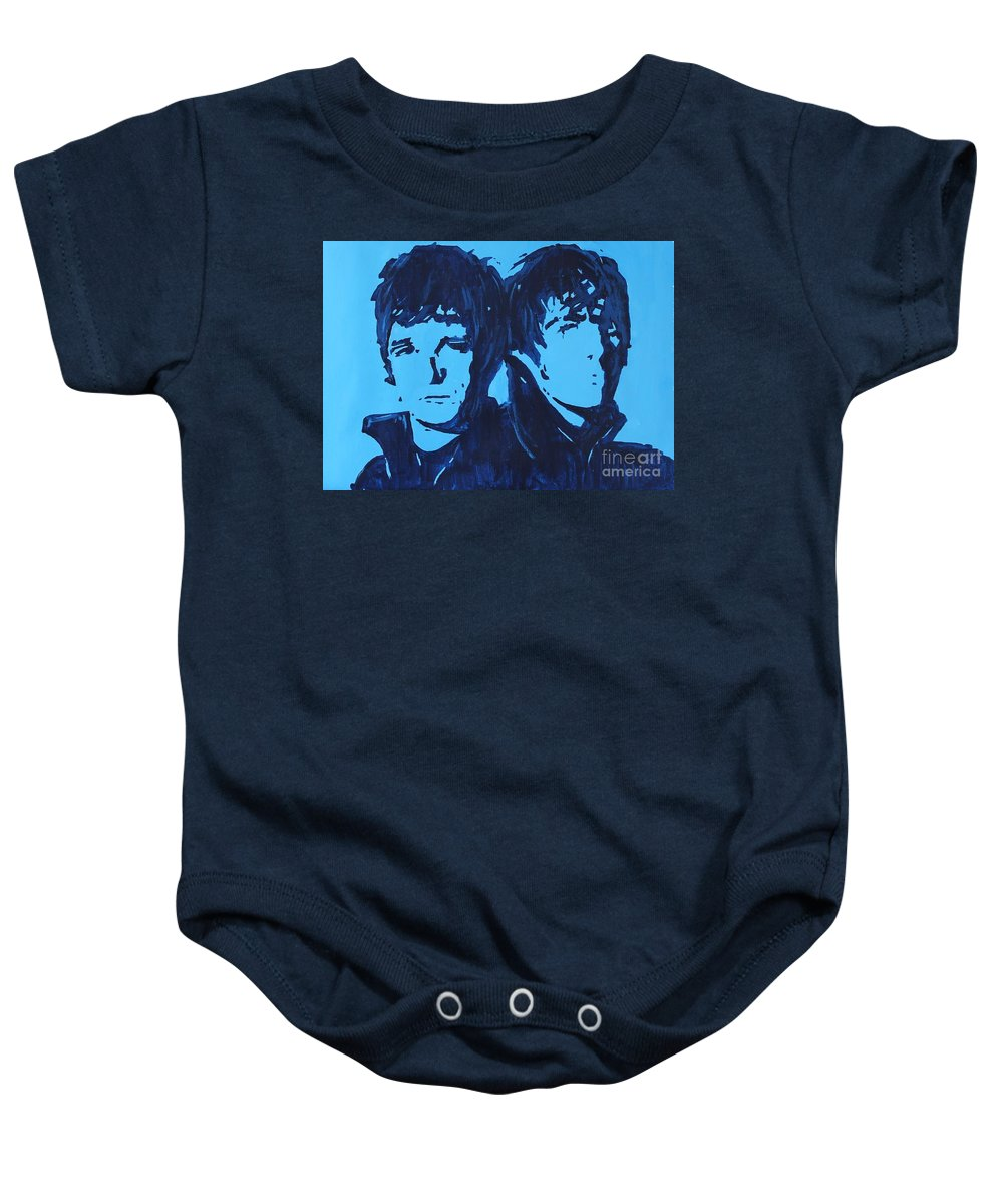Oasis Baby Onesie featuring the painting Don't Look Back In Anger. by John Halliday