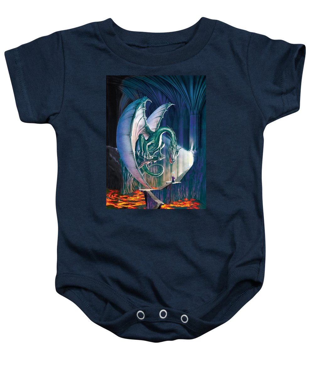 Dragon Baby Onesie featuring the photograph Dragon Lair With Stairs by MGL Meiklejohn Graphics Licensing