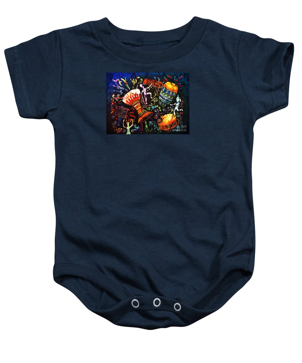 Drums Baby Onesie featuring the painting Drumbeat by Sue Duda